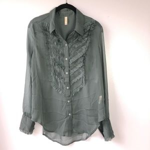 New Free People Sheer Button Down Shirt